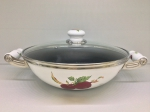 Japanese enamelled frying-pan «WOK» 28 cm with non-stick coating and glass lid, Series of Fruits