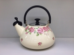 Japanese enamelled kettle with whistle 3 L, Rose series