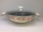 Japanese enamelled frying-pan «WOK» 28 cm with non-stick coating and glass lid, Rose series